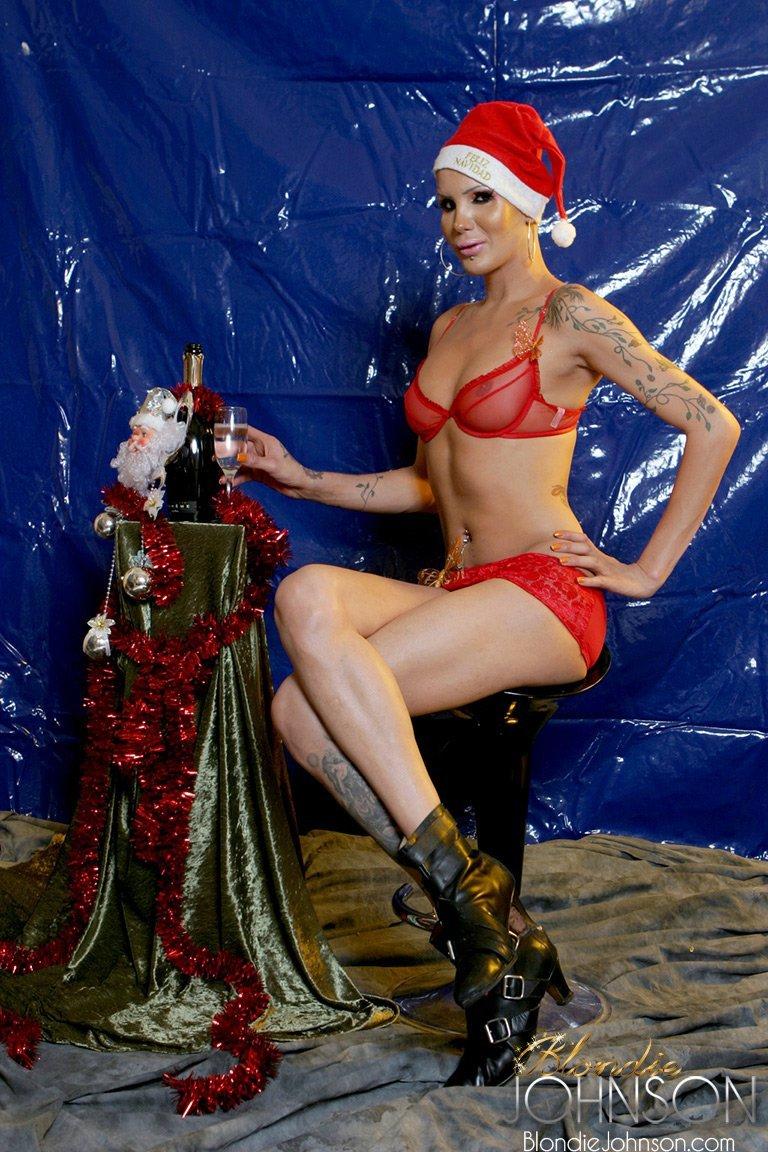 Bald T-Girl Is A Attractive Nude Santa