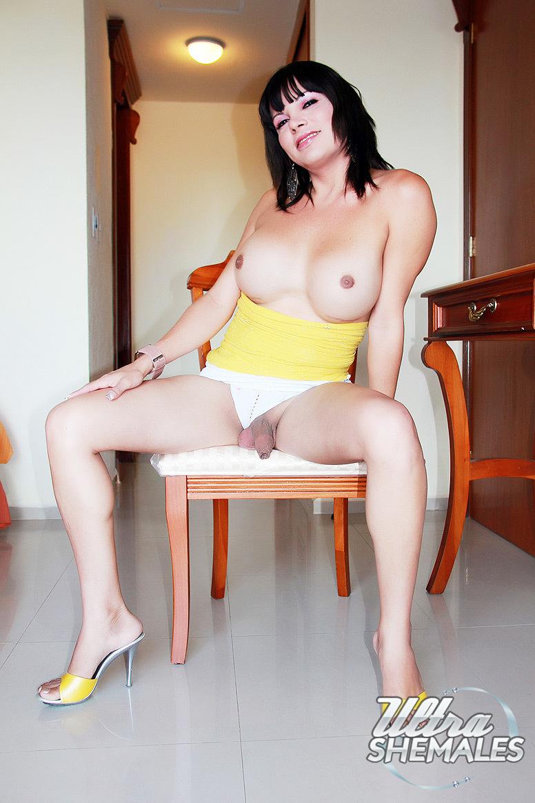 Latina TGirl With Huge Round Boobs