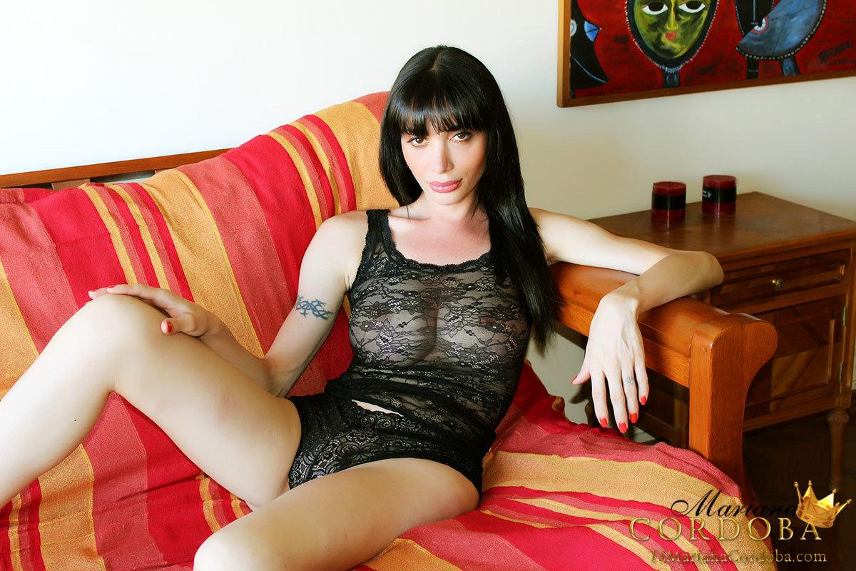 Spicy Tgirl Mariana Cordoba Stroking Her Fantastic Dick