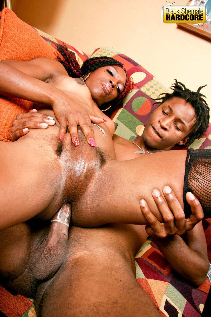 Starved Ebony TGirl Gets Smashed