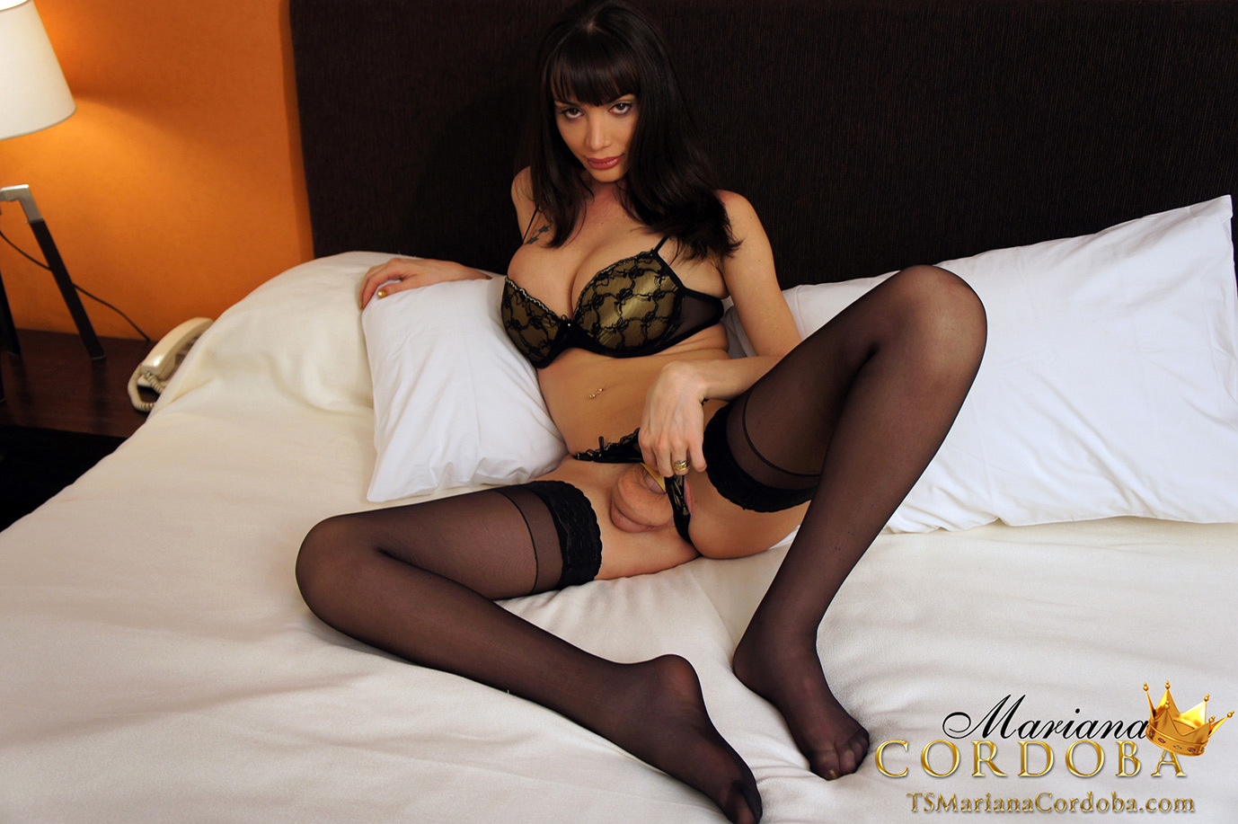 Well Hung And Very Busty TGirl In Black Stockings Flashes Her
