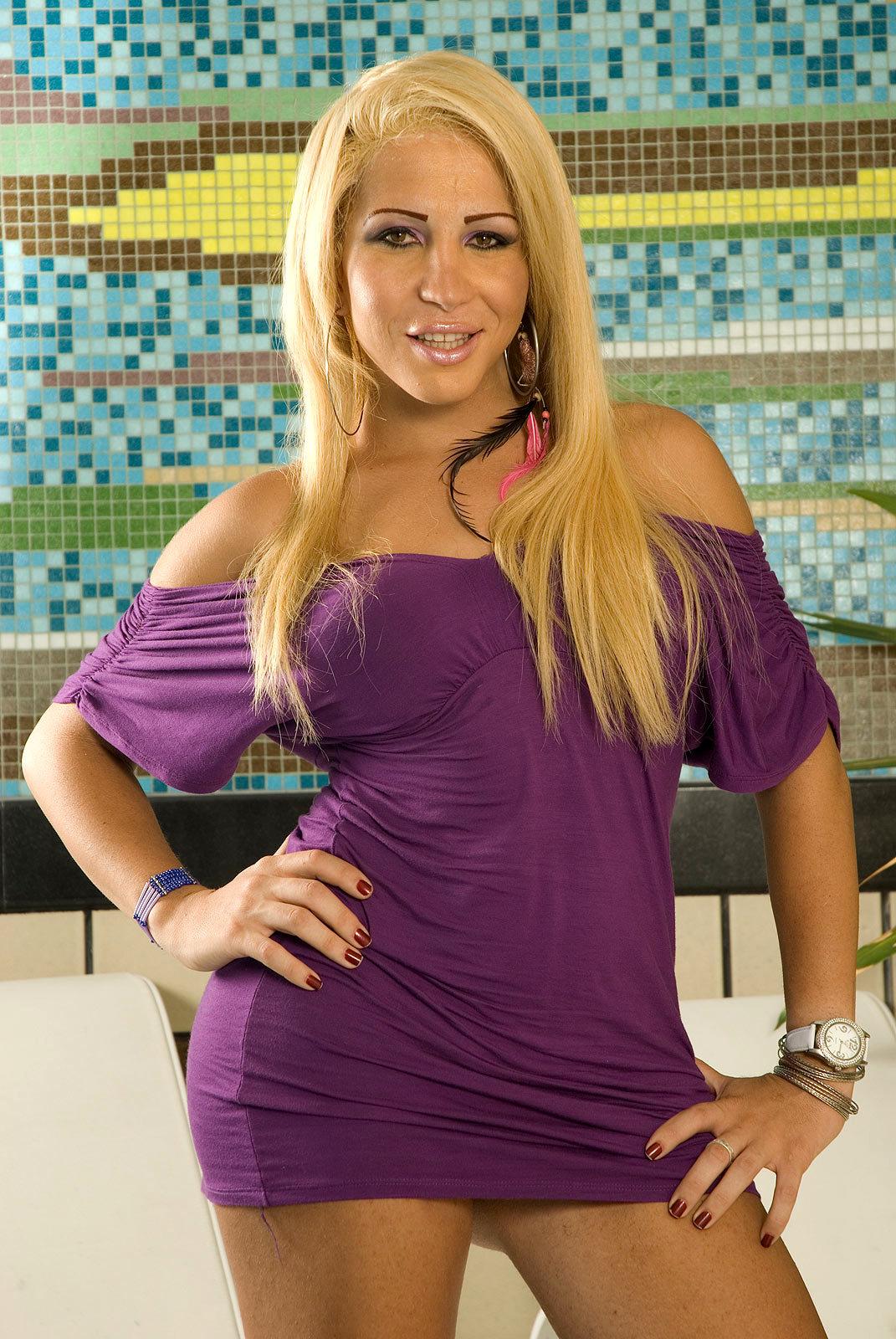 Arousing Blonde TGirl Kyara Dias Shows Us Off Massive Breasts And Penis