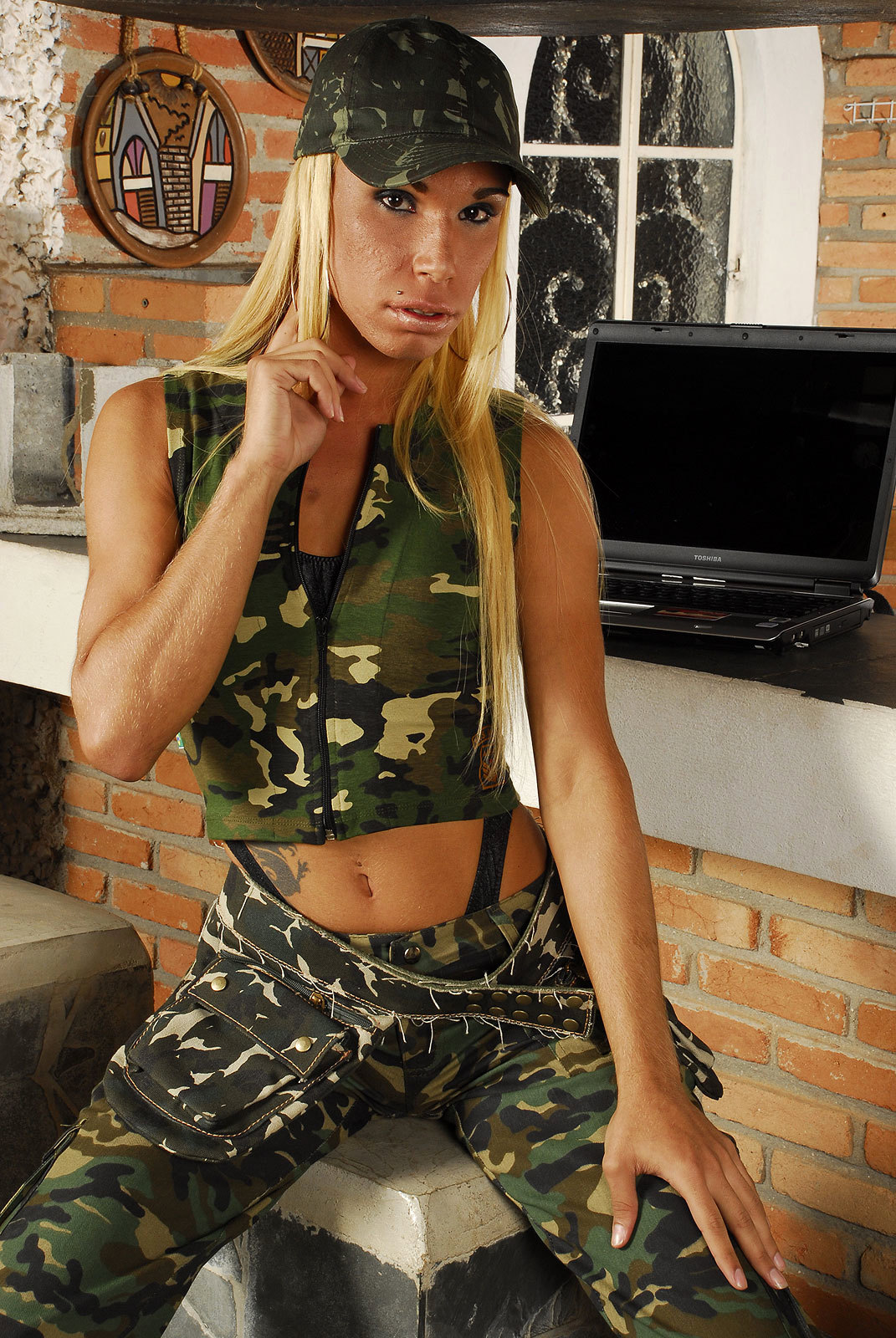 Latina Transexual Danielly Bionda Gets Ruined In Military Camp